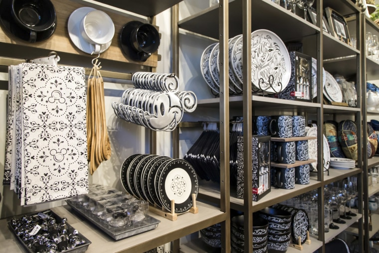 Mickey-printed plates, dish towels, trivets, mugs and more are among the many offerings.