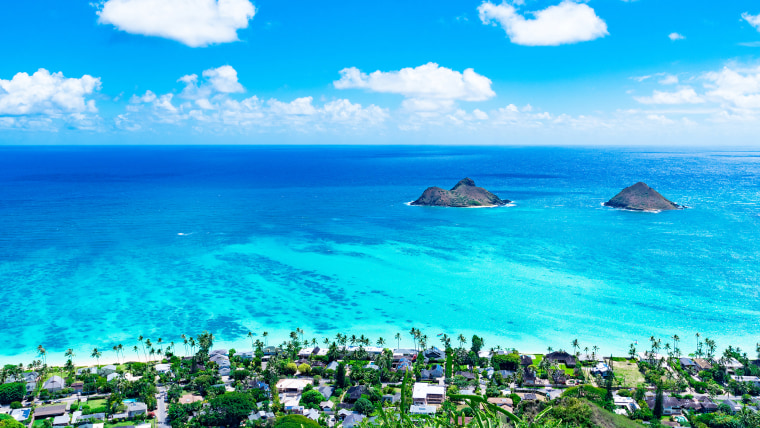 Best US beaches: Lanikai Beach as seen from above in Kailua, Oahu, Hawaii