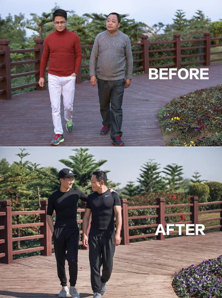 After his father gained weight and became sad, Jesse wanted to help his father become healthier. After months, the two dropped weight and added muscle mass.