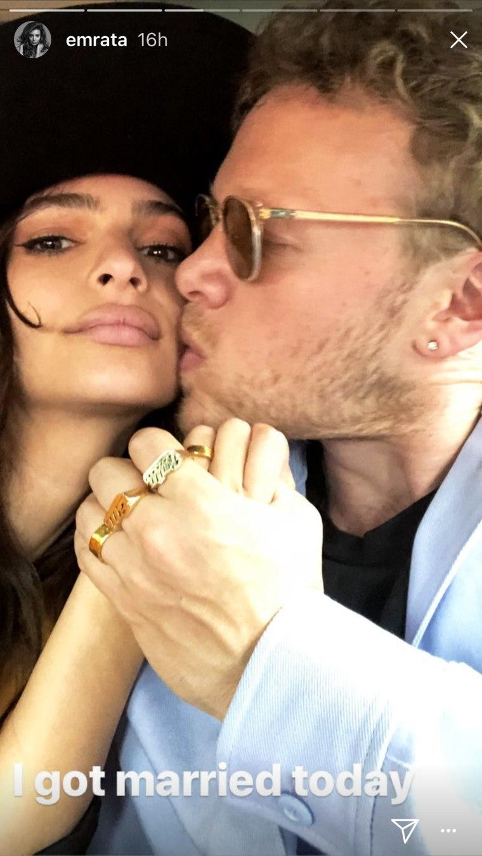 Emily Ratajkowski got a post-wedding kiss from Sebastian Bear-McClard.