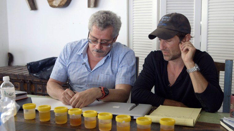 "Grigory Rodchenkov talks with filmmaker Bryan Fogel in the documentary, ""Icarus."""