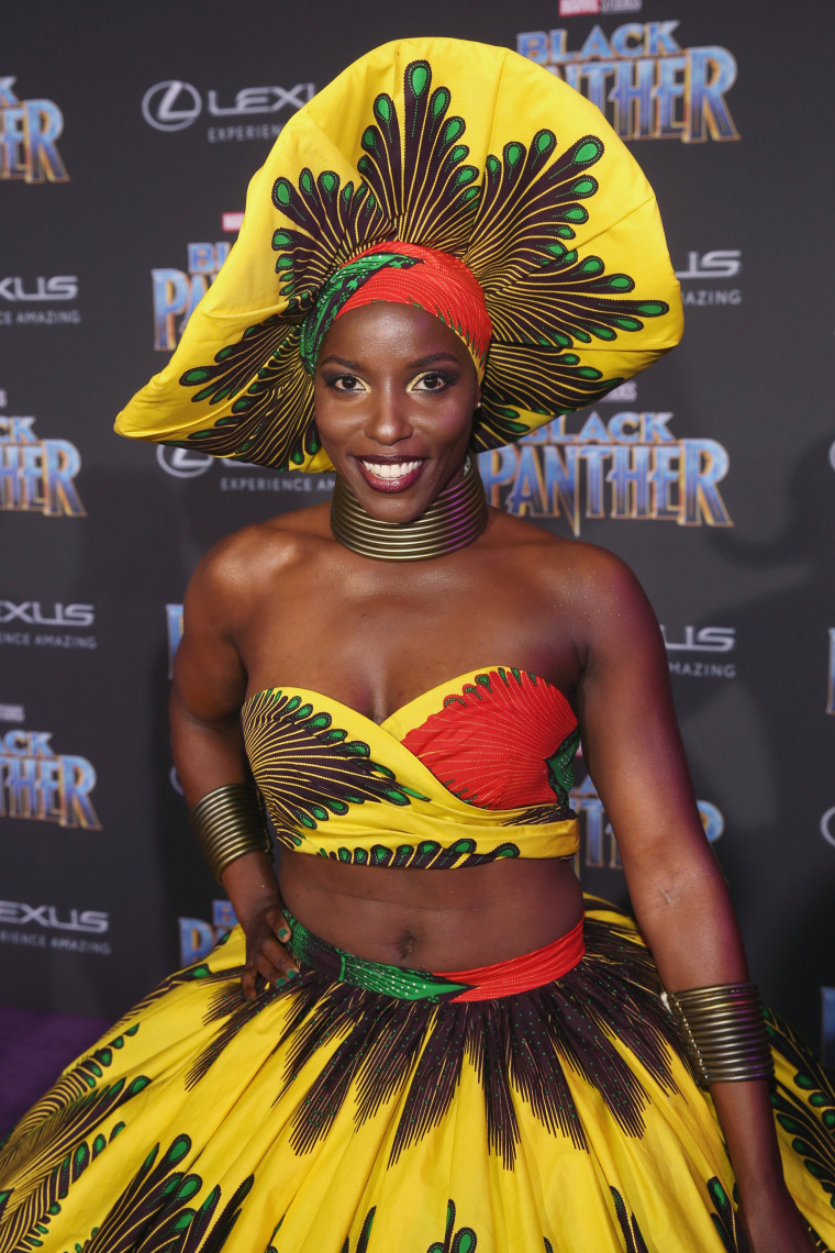 "Image: Janeshia Adams-Ginyard at the World Premiere of the movie ""Black Panther"""