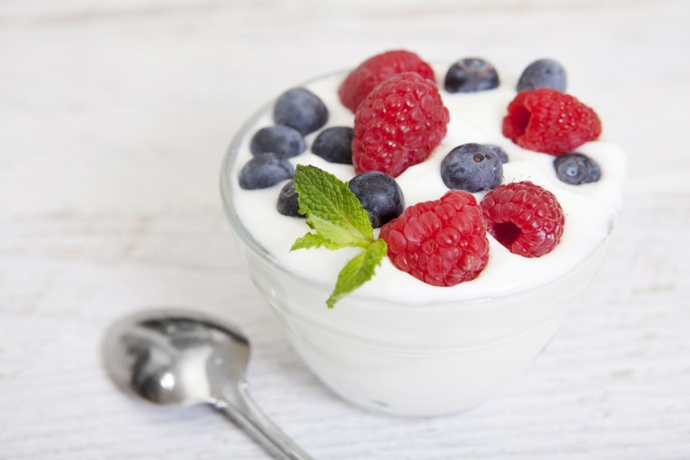 Image: A bowl of yogurt with berries