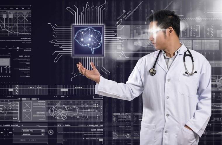 Image: AI and technology physician concept, Asian Doctor with the stethoscope equipment hand holding the Artificial intelligence of brain technology over Innovation digital screen background