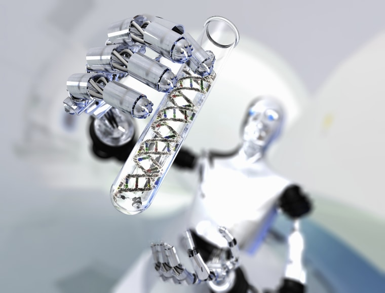 Image: Robot holding up test tube with DNA molecules
