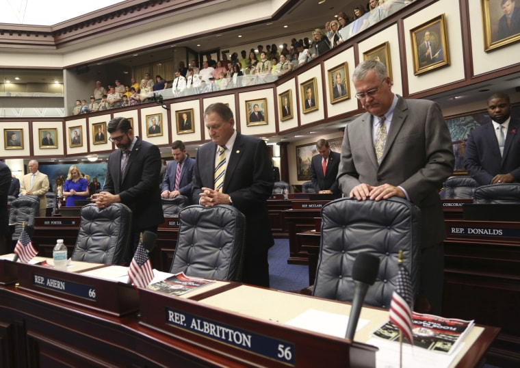 Image: From left, Florida House members Rep. Manny Diaz, Jr., R- Hialeah, Rep. Larry Ahern, R- Seminole, and Rep. Ben Albritton, R- Wauchula,