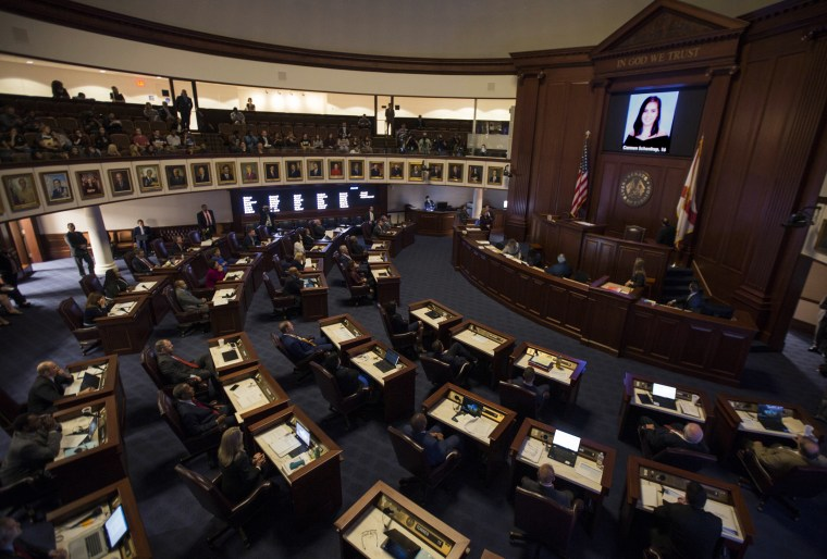 Image: A slideshow of the 17 people killed at Marjory Stoneman Douglas High School, is played at the Florida Capitol in Tallahassee,