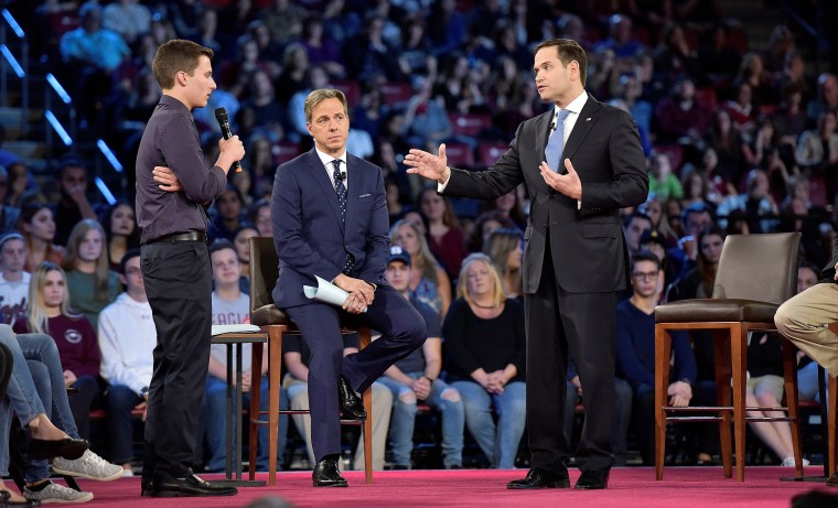 Image: Marjory Stoneman Douglas student Cameron Kasky asks Senator Marco Rubio if he will continue to accept money from the NRA during a CNN town hall meeting, at the BB&T Center, in Sunrise