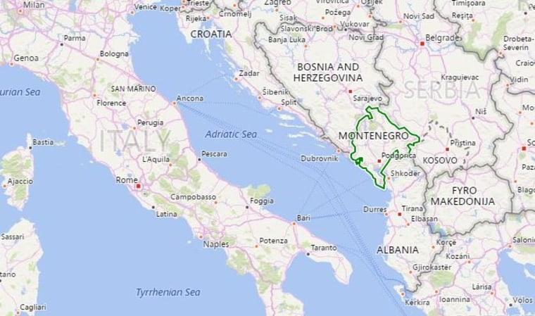 Image: Map showing Montenegro