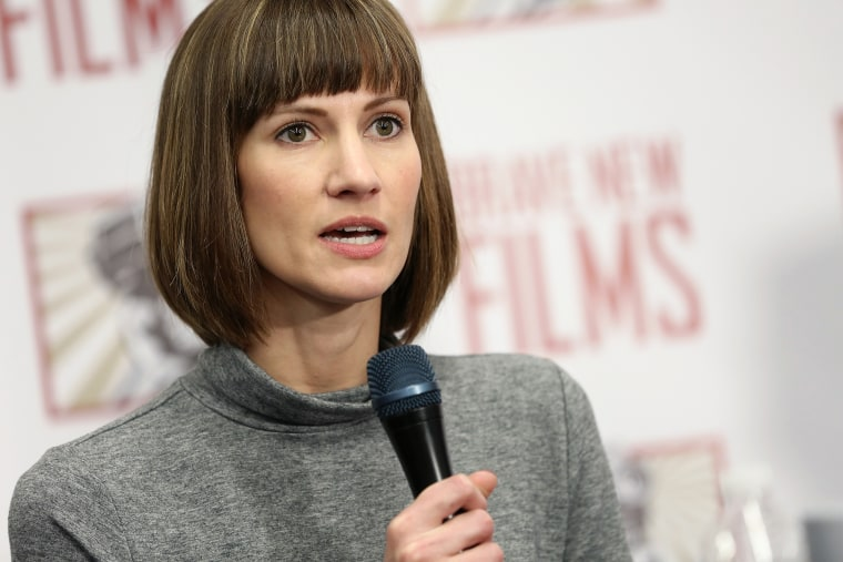 Image: Rachel Crooks speaks during a press conference in New York