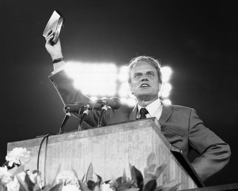 Image: Billy Graham speaks at Shea Stadium circa 1970 in Flushing