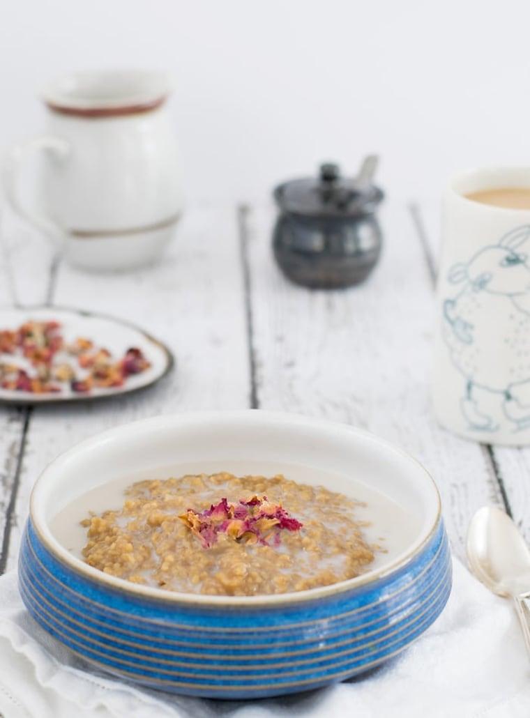 Vegan Earl Grey Oatmeal with Rose Water