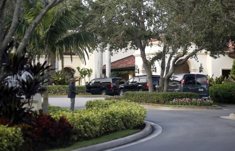 The motorcade for President Donald Trump arrives at the Trump National Golf Club on Nov. 24, 2017 in Jupiter, Fla.