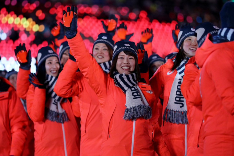 Team Japan walks in the Parade of Athletes.