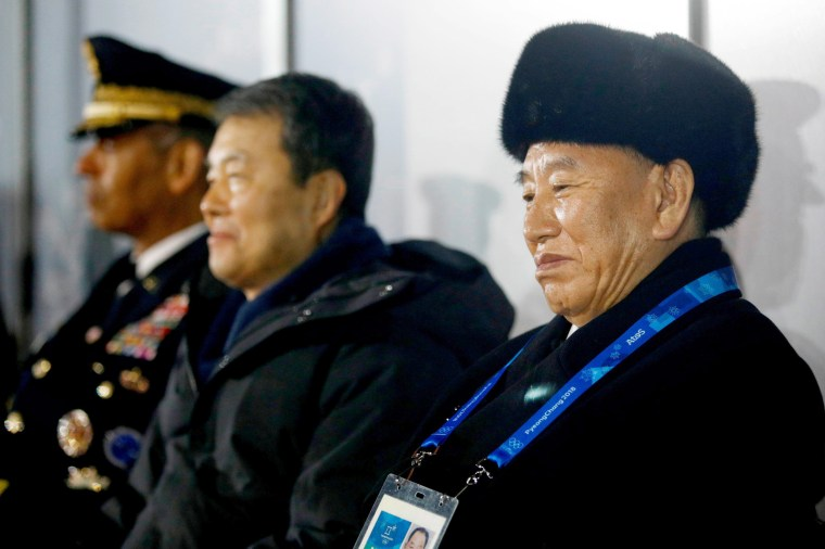 Kim Yong Chol, vice chairman of North Korea's ruling Workers' Party Central Committee, watches the closing ceremony.