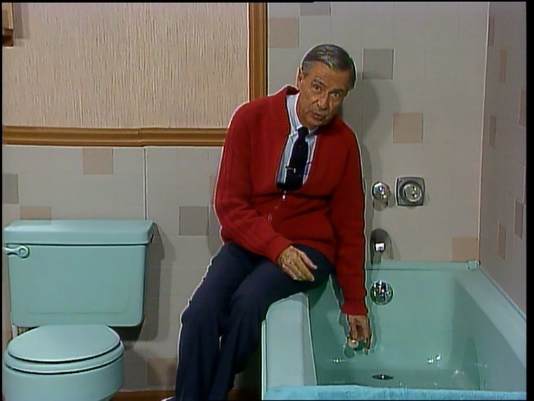 """In several episodes of """"Mister Rogers' Neighborhood,"""" Rogers talked about bathtubs and drains, assuring kids that there was no need to fear washing down a drain themselves."""