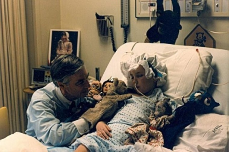 Beth Usher, who had brain surgery when she was five, developed a special friendship with Rogers. Here, he visits Usher in the hospital after her surgery, spending time with her while she was in a coma.