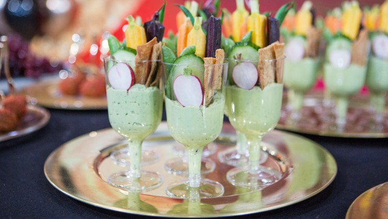 Oscar party Hummus in Champagne Flute