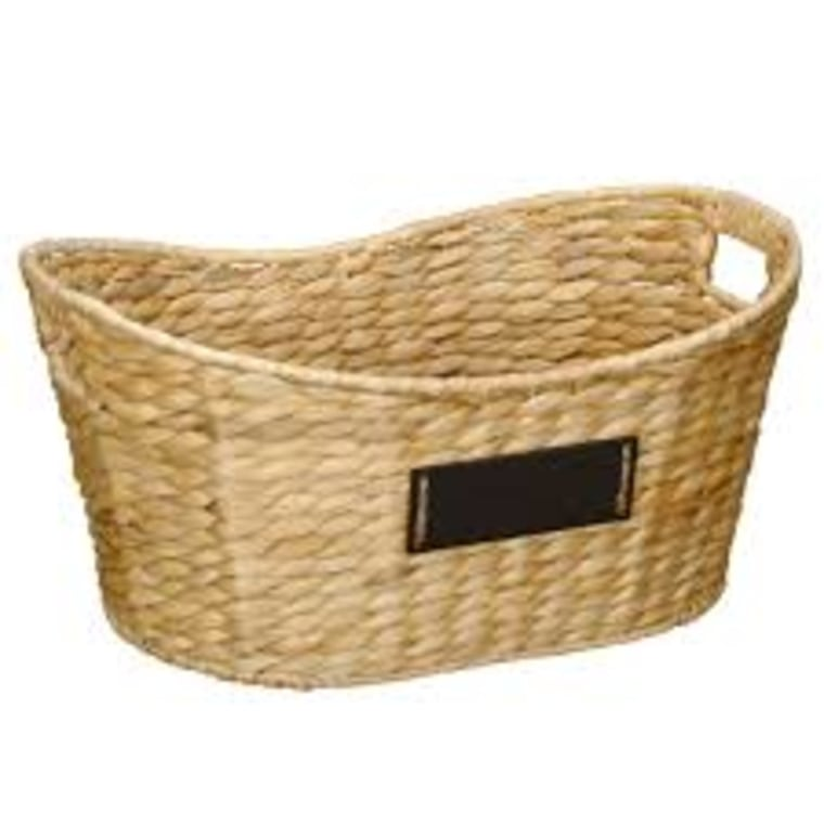 Wicker basket with chalkboard