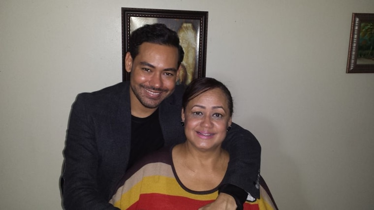 Cesar Vargas with his mother Miriam.