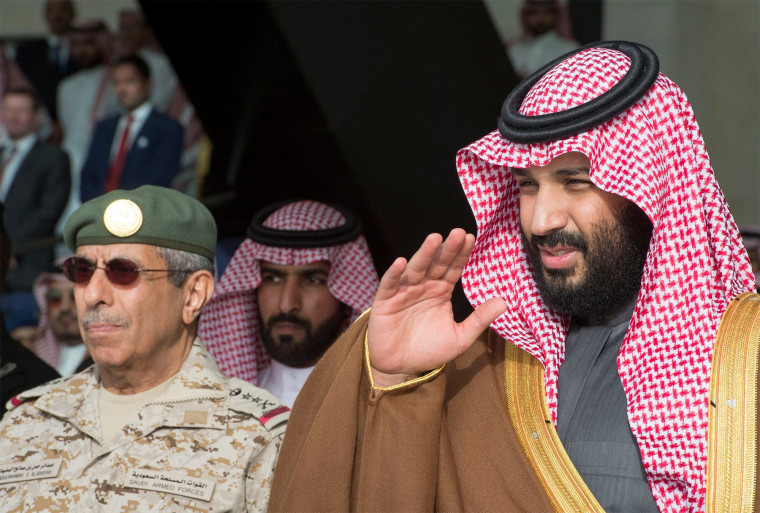 Image: Saudi Arabia's Crown Prince Mohammed bin Salman gestures during the graduation ceremony of the 93rd batch of the cadets of King Faisal Air Academy, in Riyadh