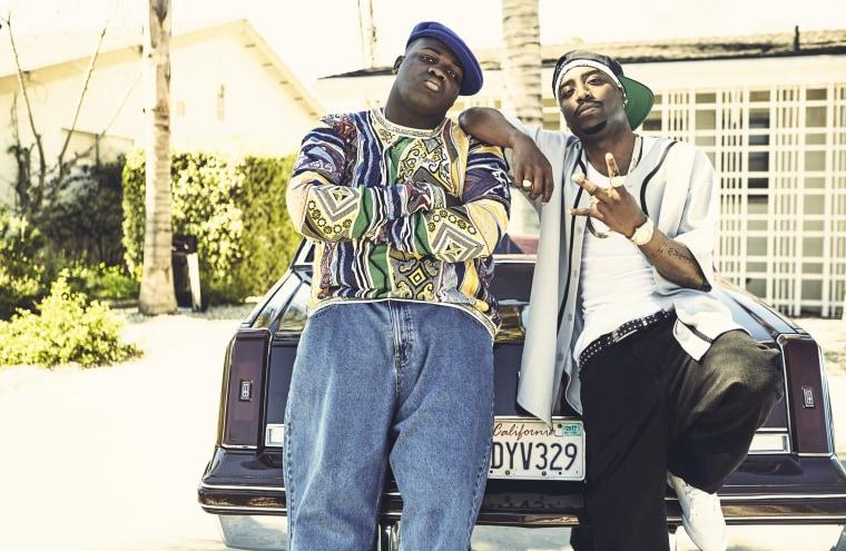 Image: Wavyy Jonez as Biggie, left, and Marcc Rose as Tupac Shakur