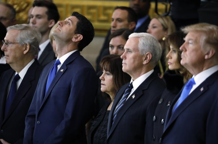 Image: Senate Majority Leader McConnell, Speaker of the House Ryan, second lady Pence, U.S. Vice President Pence and President Trump attend cermonies as the late Rev Billy Graham lies in honor at the U.S. Capitol building in Washington
