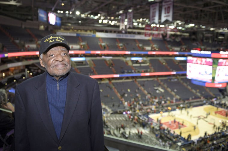 Image: Eugene Williams poses for a photograph before an NBA basketball game between the Washington Wizards and the Golden State Warriors, Wednesday, Feb. 28, 2018, in Washington.