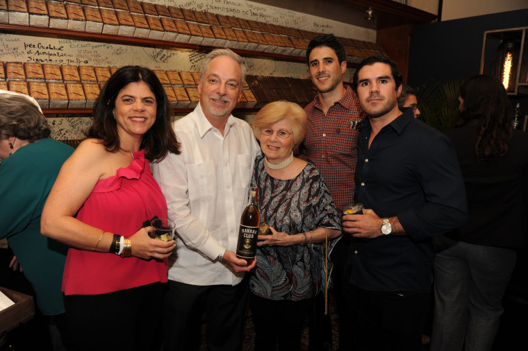 "From Left to Right: Paola Arechabala, Rick Wilson (Bacardi senior vice president for external affairs), Amparo Arechabala, Armando Arechabala, and Andres Arechabala at a cocktail reception before the debut of ""Amparo"" on February 28, 2018."