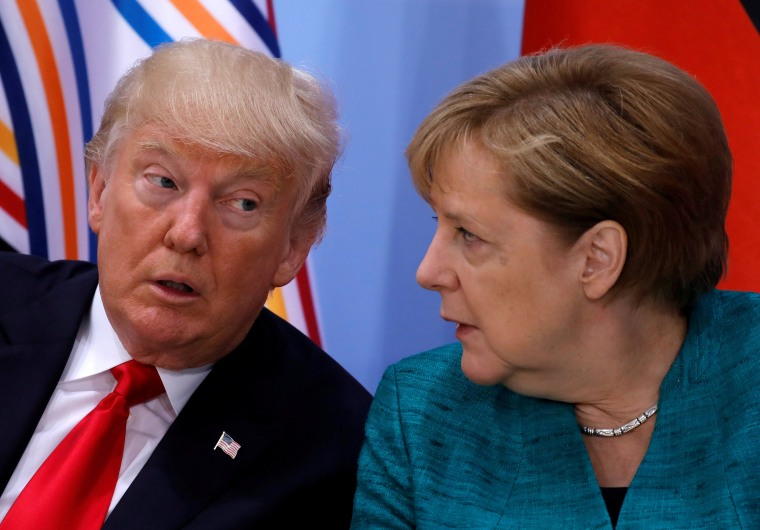 Image: Donald Trump and Angela Merkel spoke by phone after Vladimir Putin boasted of new nuclear-capable weapons.