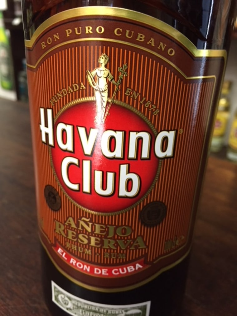 A bottle of Havana Club rum distributed by Pernod Ricard at a liquor store in Havana, Cuba, on March 1, 2018.