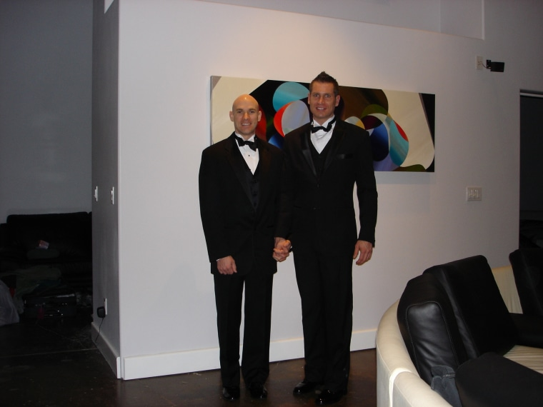 Moore and Zarda attend their first Human Rights Campaign black tie dinner, 2003.