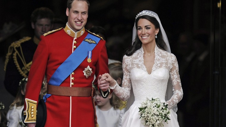 This is a Friday, April, 29, 2011 file photo of Britain's Prince William and his wife Kate, Duchess of Cambridge stand outside of Westminster Abbey after their Royal Wedding in London .