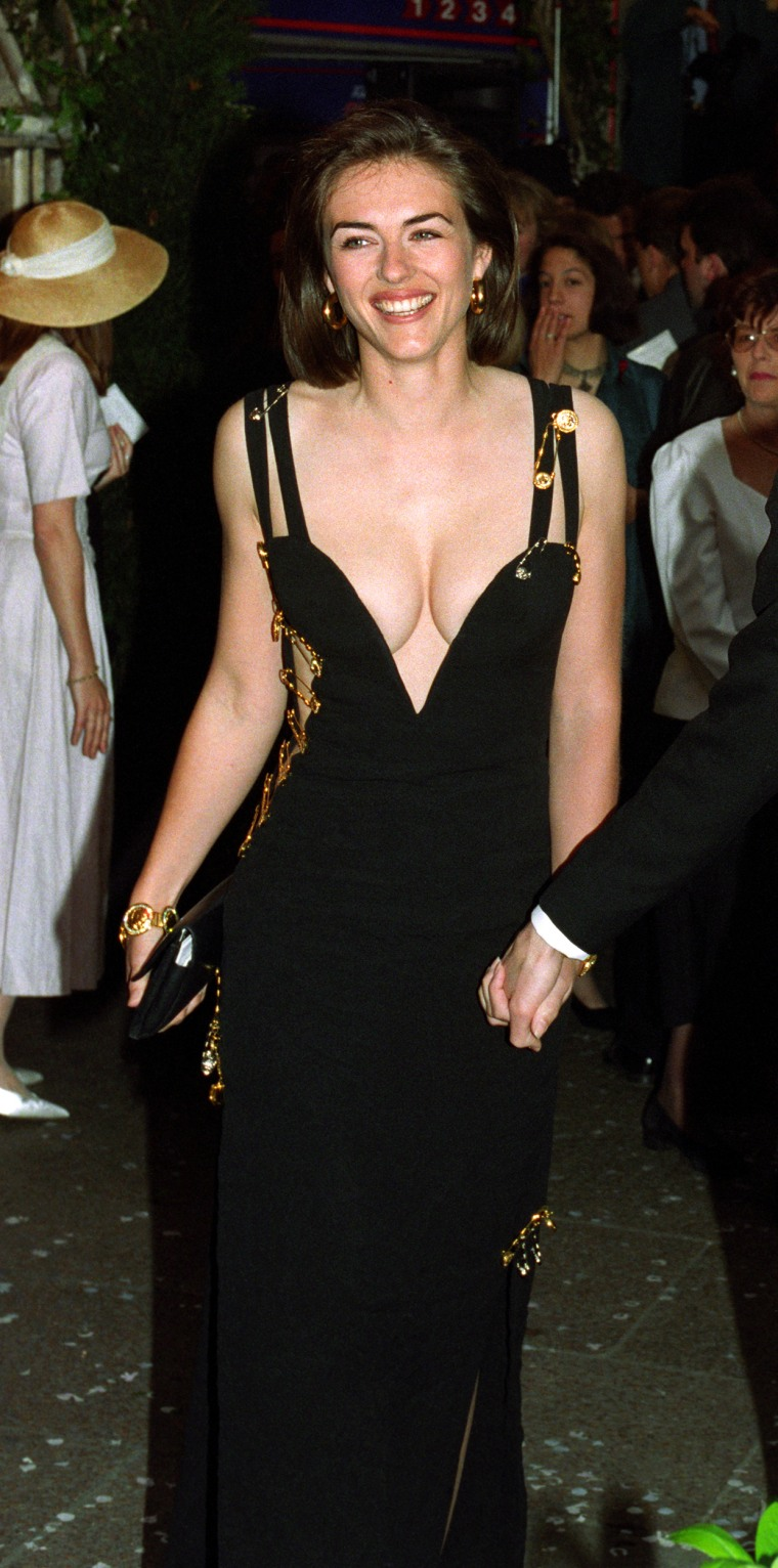 Elizabeth Hurley safety pin dress