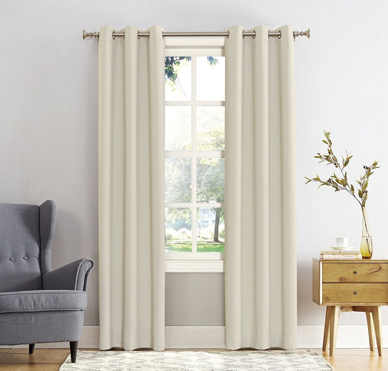 polyester curtains blackout light hilja window panel blocking hidden with curtain tabs white beige