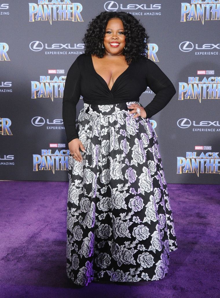 "Amber Riley at the ""Black Panther"" premiere"