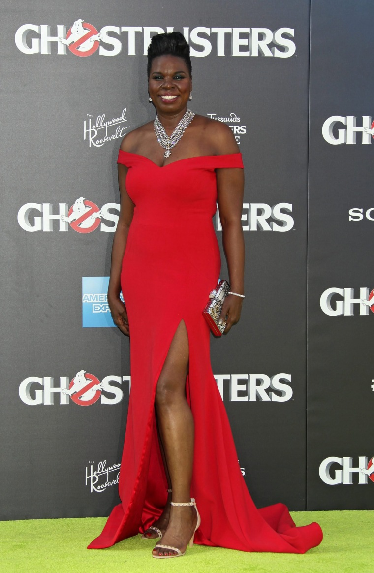 "Leslie Jones wears Christian Siriano dress to ""Ghostbusters"" premiere"