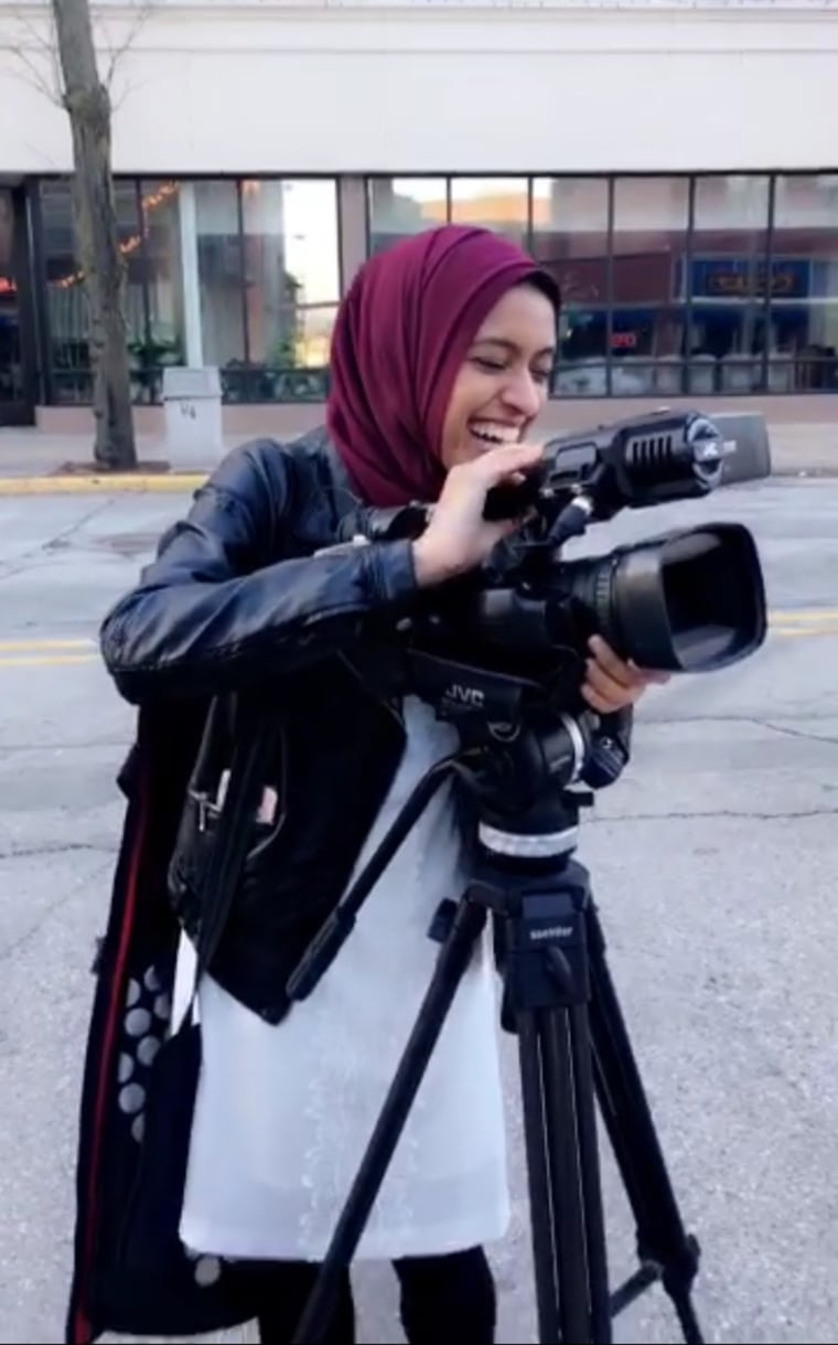 First hijab-wearing TV reporter