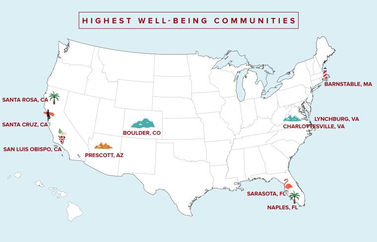 Highest Well-being communities Map