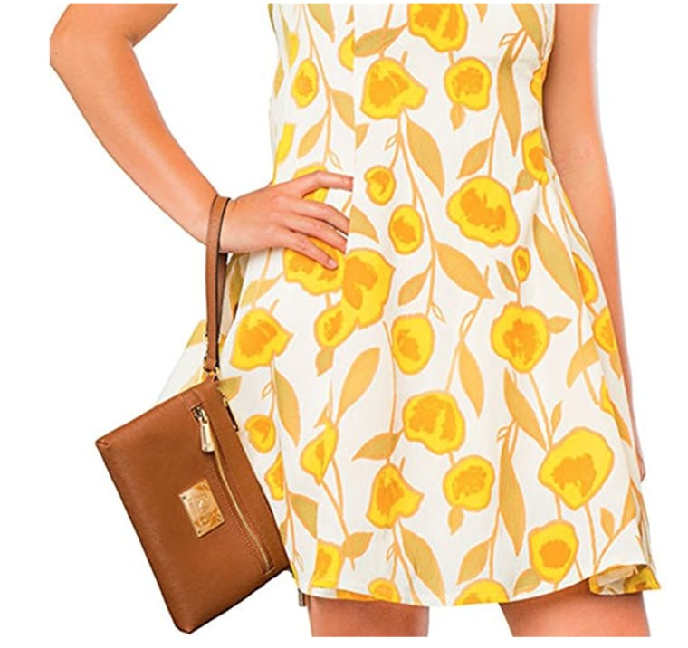 Yellow flower dress with tan purse