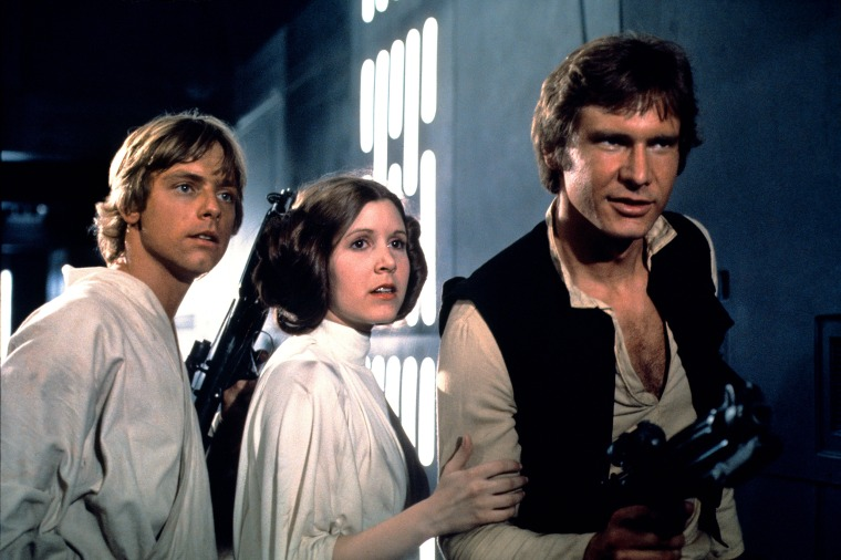 STAR WARS, (aka STAR WARS: EPISODE IV - A NEW HOPE), Mark Hamill, Carrie Fisher, Harrison Ford, 1977.