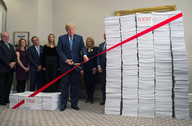 Image: U.S. President Donald Trump uses gold scissors to cut a red tape tied between two stacks of papers representing the government regulations