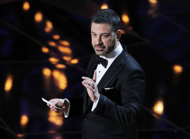 Image: Host Jimmy Kimmel speaks onstage at the Academy Awards