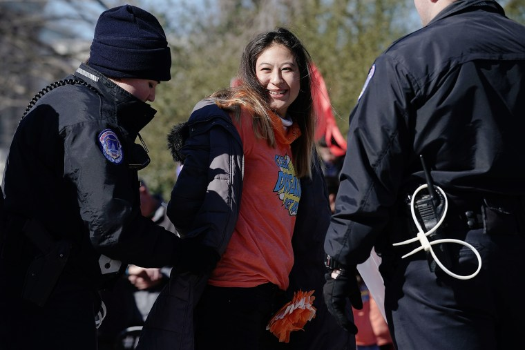 Image:An immigration activist is arrested during a protest in Washington