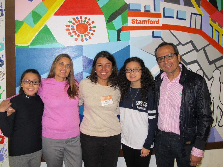 Alison, Miriam Martinez-Lemus, B1C Family & School Services Director Lorely Peche, Brianna, and Raphael Benavides seen here at B1C in downtown Stamford, CT.