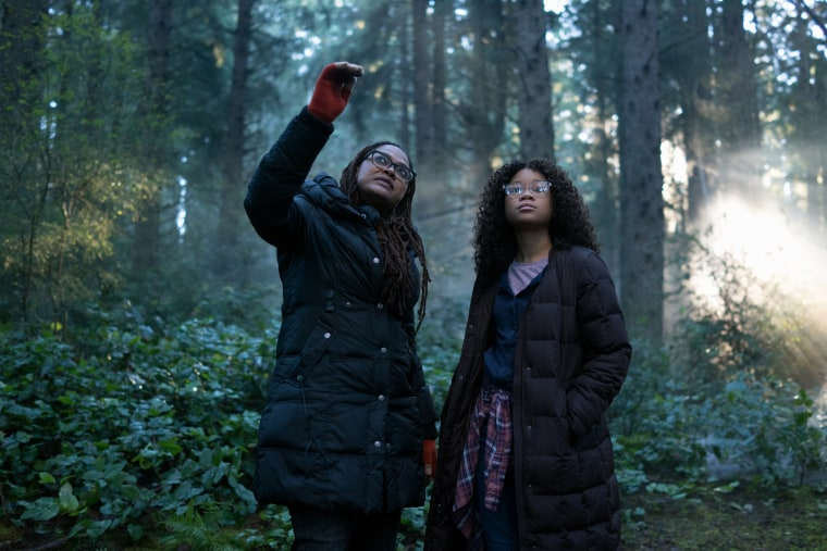 "Image: Director Ava DuVernay with Storm Reid on the set of Disney's ""A Wrinkle in Time."""