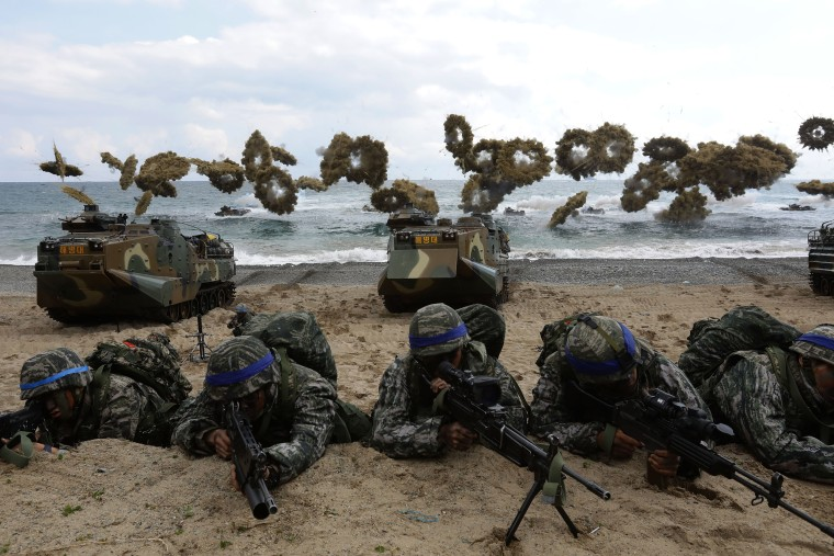 Image: South Korean marines participate in landing operation referred to as Foal Eagle joint military exercise with U.S. troop