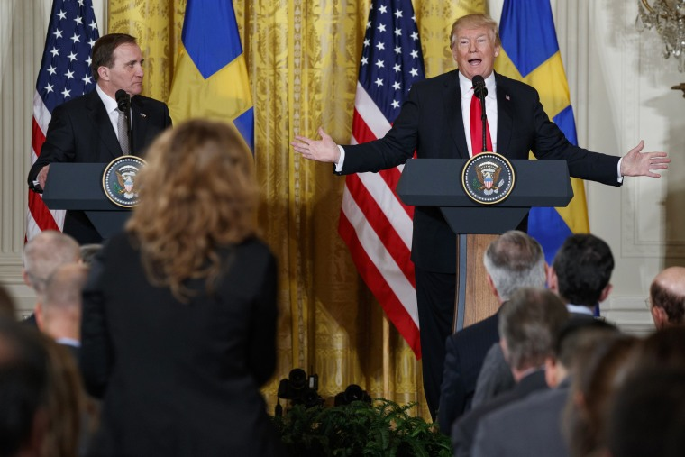 Image: President Donald Trump speaks during a news conference with Swedish Prime Minister Stefan Lofven