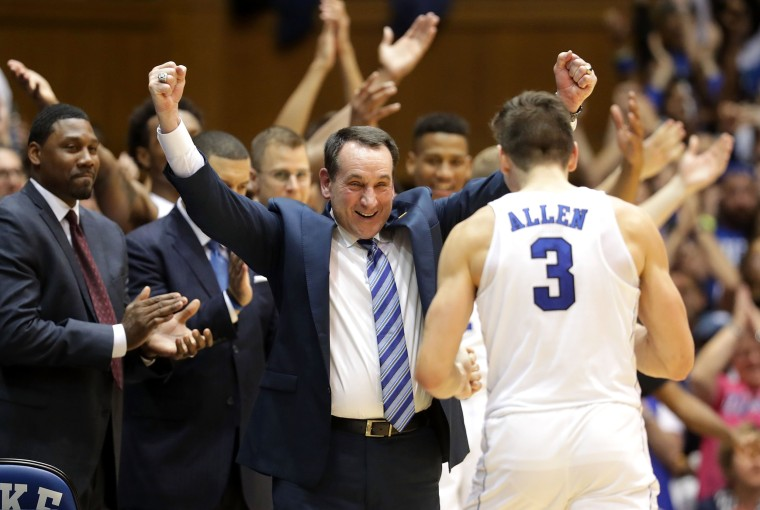 Image: Head coach Mike Krzyzewski of the Duke Blue Devils celebrates with Grayson Allen #3