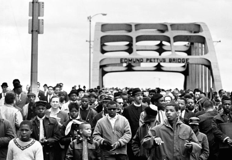 Civil Rights March Across Selma Bridge